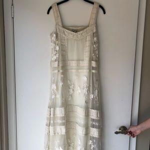 Anthropologie Odille Embroidered Tulle Lace Dress